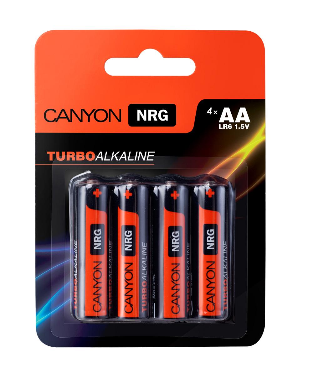 Батарейка алкалиновая Canyon NRG, тип AA (LR6), 4 штALKAA4Щелочная технология идеально подходит для устройст с высоким энергопотреблением, щелочные батареи в 6 раз лучше обычных солевых батарей, батарея остается годной для использования в течении 5 лет, щелочные батареи Canyon NRG содержат 0% кадмия и ртути.