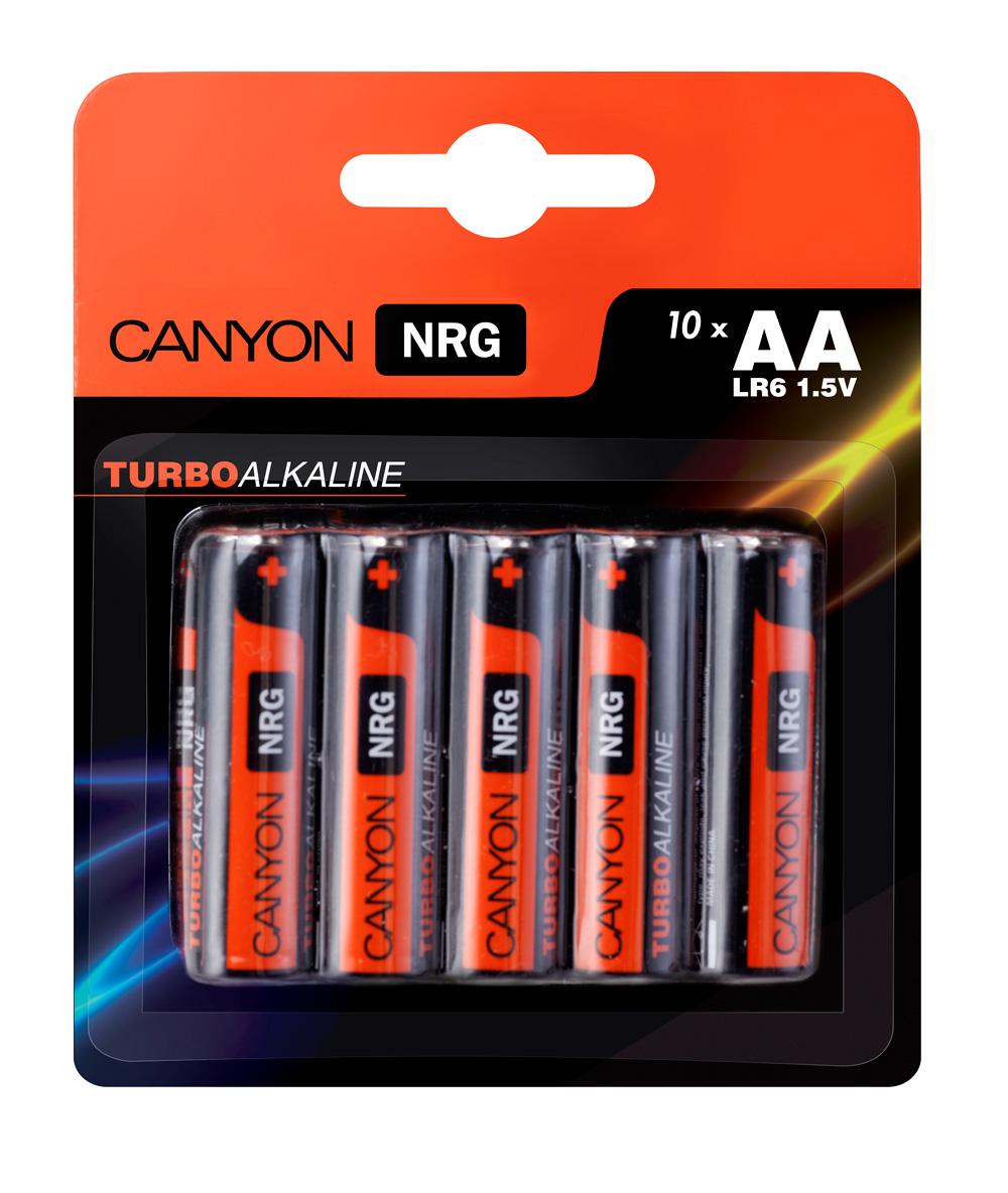 Батарейка алкалиновая Canyon NRG, тип AA (LR6), 10 штALKAA10Щелочная технология идеально подходит для устройст с высоким энергопотреблением, щелочные батареи в 6 раз лучше обычных солевых батарей, батарея остается годной для использования в течении 5 лет, щелочные батареи Canyon NRG содержат 0% кадмия и ртути.