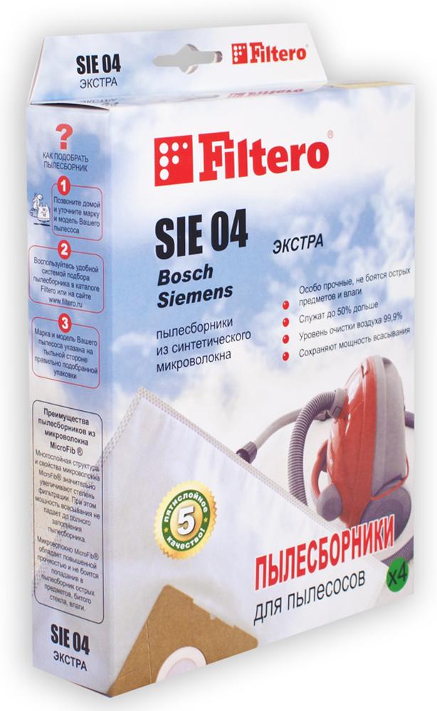 Filtero SIE 04 Экстра мешок-пылесборник для Bosch и Siemens, 4 штSIE 04 ЭкстраПылесборники Filtero SIE 04 Экстра произведены из синтетического микроволокна MicroFib. Очень прочные, они не боятся острых предметов и влаги, собирают больше пыли (до 50%) и обеспечивают уровень очистки воздуха 99,9%, что значительно выше, чем у бумажных пылесборников. При этом мощность всасывания пылесоса сохраняется в течение всего периода службы пылесборника. Пылесборники подходят для следующих моделей пылесосов: Siemens: VS 01G000 - VS 01G999 Smily/Super SX Bosch: BSG 1000 - BSG 1999 Arriva BSN 1600 Big bag, BSN 1700 Big bag, BSN 1810 Big bag, BSN 2010 Big bag.