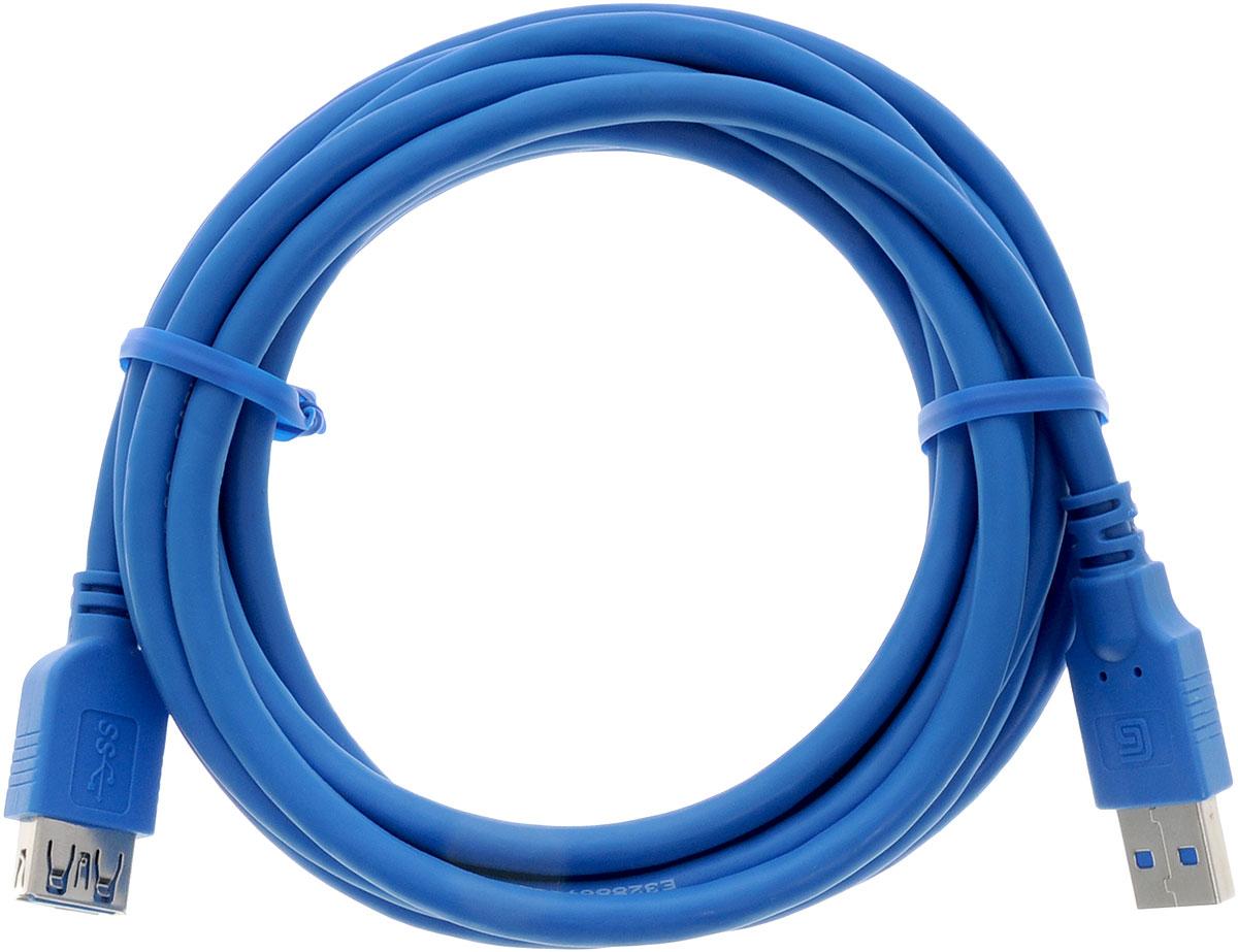 Greenconnect Premium GC-U3A02, Blue кабель-удлинитель 3 мGC-U3A02-3mКабель-удлинитель Greenconnect Premium GC-U3A02 позволит увеличить расстояние до подключаемого устройства. Может быть использован с различными USB девайсами. Кабель имеет двойное экранирование (сочетание фольгированной и общей оплетки), что позволяет защитить сигнал при передаче от влияния внешних полей, способных создать помехи. Скорость передачи данных: до 5 Гбит Обратная совместимость с USB 2.0/1.1 Тип оболочки: PVC (ПВХ)