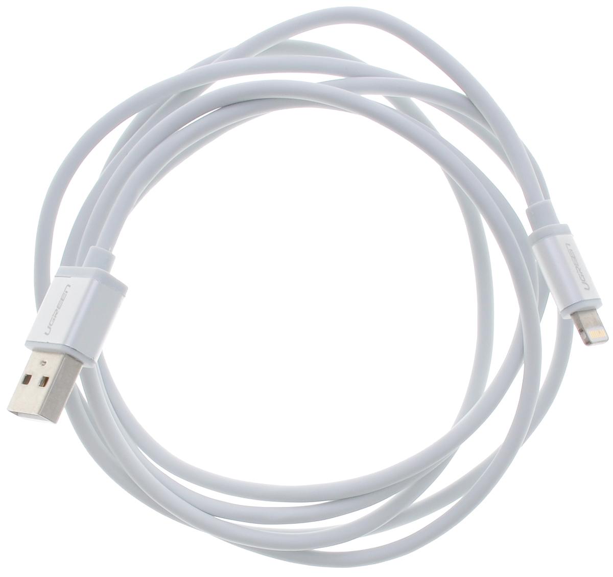 Ugreen UG-10812, White Silver кабель-переходник USB 1 мUG-10812Кабель Ugreen UG-10812 подходит для зарядки и синхронизации iPhone/iPod/iPad с интерфейсом Lightning и полностью соответствует стандартам качества Apple.