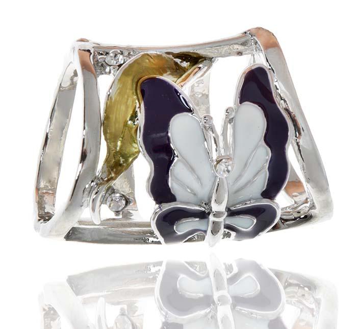 Кольцо для платка/шарфа 'Бабочка' от D.Mari. Прозрачные стразы, цветные эмали, бижутерный сплав серебряного тона. Гонконг