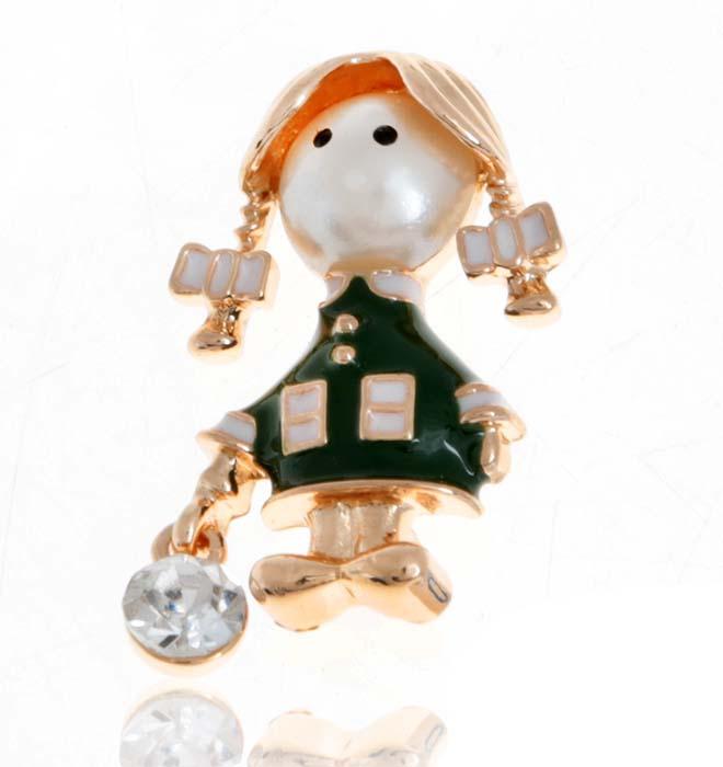 Брошь Девочка в зеленом платье. Прозрачный кристалл, цветные эмали, искусственная жемчужина, гипоаллергенный ювелирный сплав. Lisa Lone, Испания1775Брошь Девочка в зеленом платье. Прозрачный кристалл, цветные эмали, искусственная жемчужина, гипоаллергенный ювелирный сплав. Lisa Lone, Испания. Размер: 3 х 2 см. Тип крепления - булавка с застежкой.