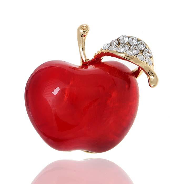 Брошь Красное яблоко. Прозрачные стразы, бижутерное стекло, гипоаллергенный ювелирный сплав. Lisa Lone, Испания1775Брошь Красное яблоко. Прозрачные стразы, бижутерное стекло, гипоаллергенный ювелирный сплав. Lisa Lone, Испания. Размер: 3 х 2 см. Тип крепления - штифт.