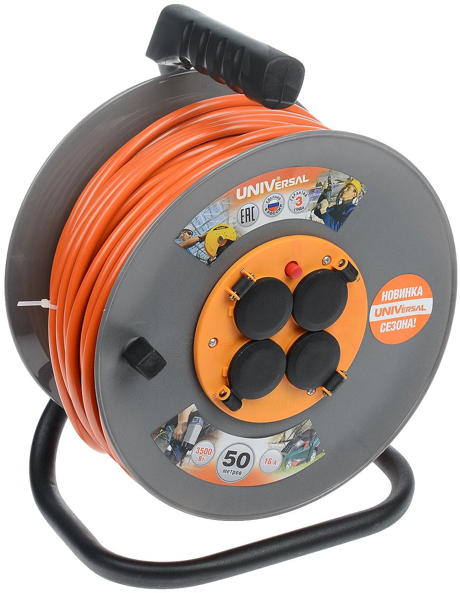 Удлинитель на катушке UNIVersal с заземлением, цвет: оранжевый, серый, черный, 50 м83285_оранжевый, серый, черныйСиловой удлинитель на катушке UNIVersal с заземлением пригодится в гараже, на приусадебном участке, при проведении строительных, ремонтных и монтажных работ. Позволяет подключить до четырех электроприборов. Рассчитан на напряжение 220 В. Быстро сматывается/разматывается, экономя время пользователя, удобен в хранении. Провод с поливинилхлоридной изоляцией обеспечивает надежность и безопасность работы. Прочная рама придает надежность конструкции.