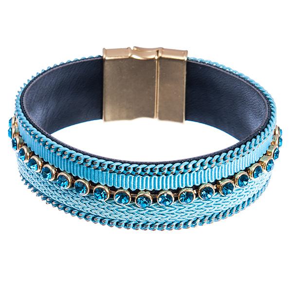 Браслет Selena Valencia, цвет: голубой. 4005512040055120Текстиль, экокожа, стразы Swarovski. Гальваническое покрытие: золото., длина браслета 19 см ширина 2 см
