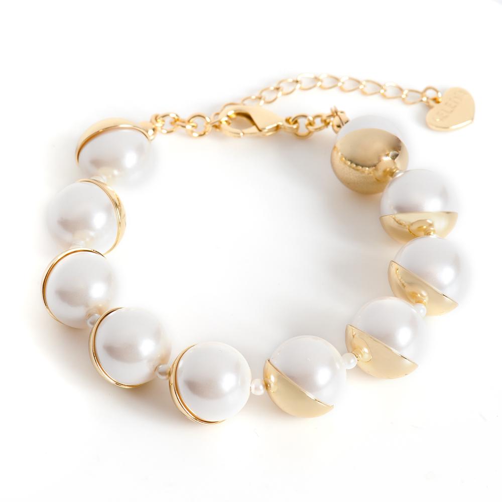 Браслет Selena Audrey, цвет: белый, золотистый. 40058630