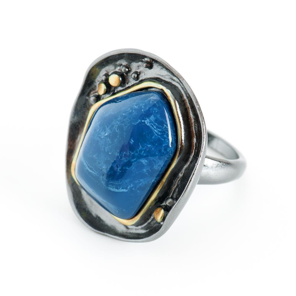 Кольцо Selena Valencia, цвет: золотистый, синий, черный. 60025237. Размер 1760025237Ювелирная смола, латунь. Гальваническое покрытие: черненый родий, золото., размер кольца 17