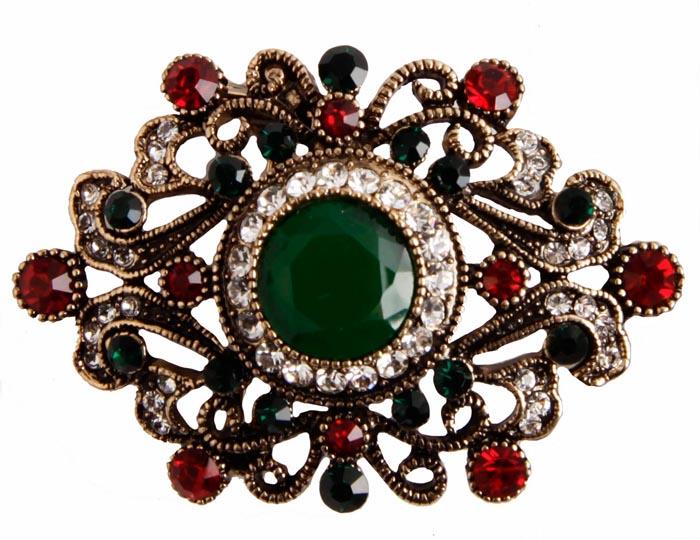 """Брошь """"Афина"""". Бижутерный сплав, австрийские кристаллы, искусственные камни. Конец XX века"""