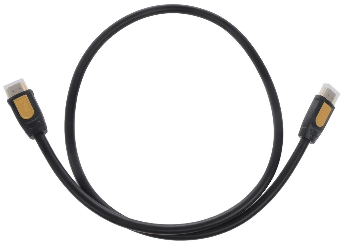 Ugreen UG-10151, Black Yellow кабель HDMI 0.75 мUG-10151Кабель Ugreen UG-10151 предназначается для передачи цифровых видеоданных с высоким разрешением и многоканальных цифровых аудиосигналов с дальнейшей защитой от копирования. Кабель оснащен двунаправленным каналом для передачи сетевых данных на скорости до 100 Мб/сек, который подходит для использования IP-приложениями. Канал Ethernet позволяет нескольким устройствам работать в сети Ethernet без необходимости подключения дополнительных проводов, а также напрямую обмениваться контентом. Наличие обратного канала аудио устраняет необходимость в отдельном проводе для передачи звука в ресивер с телевизора или другого устройства, которое является одновременно источником аудио и видео.