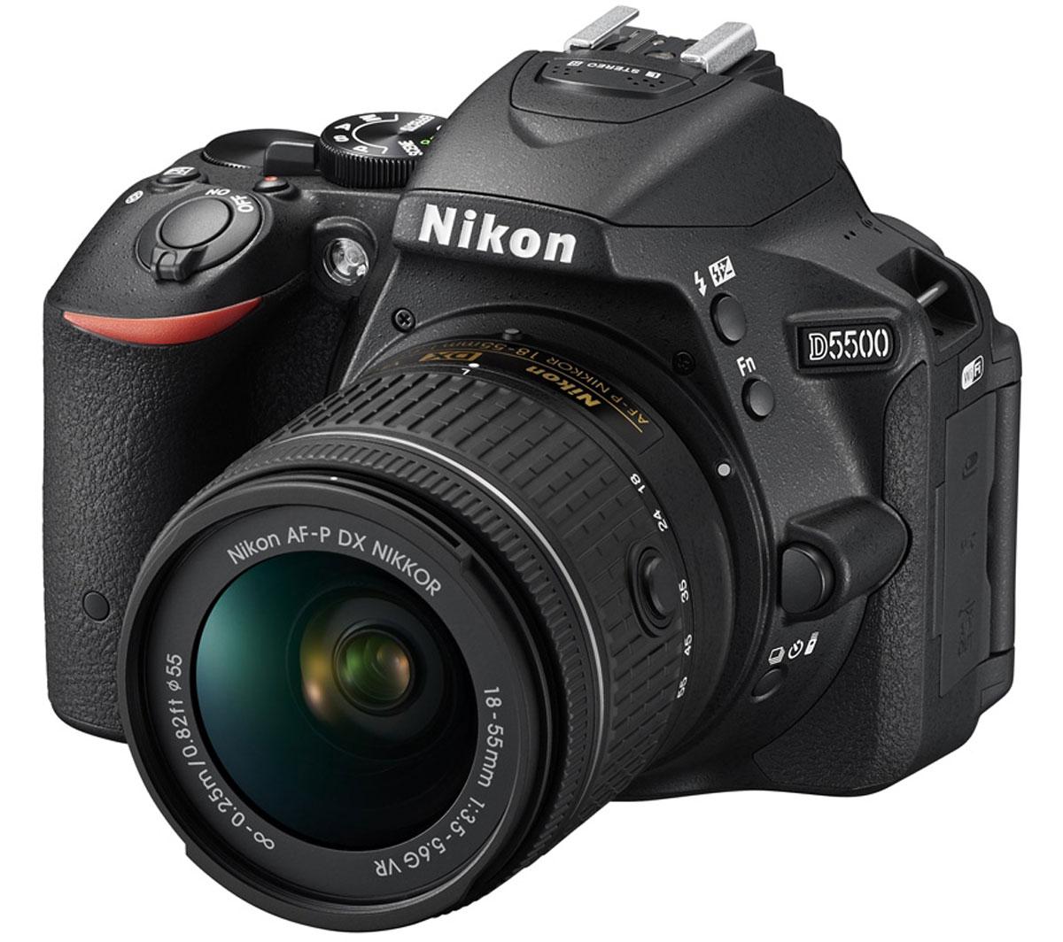 Nikon D5500 Kit 18-55 VR, Black цифровая зеркальная камераVBA440K006Отобразите красоту окружающего мира на великолепных фотографиях, снятых с помощью фотокамеры D5500. Эта легкая и компактная, но в то же время очень мощная цифровая зеркальная фотокамера с удобным и понятным сенсорным управлением позволяет совершенствоваться в искусстве фотографии. Забудьте о смазанных фотографиях и создавайте яркие детализированные изображения, которые всегда будут в центре внимания. Достигайте непревзойденных результатов даже при съемке быстро движущихся объектов или в условиях недостаточной освещенности. Создавайте фотографии и видеоролики отличного качества даже при недостаточном освещении. Благодаря широкому диапазону чувствительности ISO (100-25 600 единиц) изображения получаются как никогда яркими и детализированными. С мощной 24,2-мегапиксельной матрицей вы поразите друзей снимками с высоким уровнем детализации. Фотокамера D5500 оснащена матрицей с разрешением 24,2-мегапикселя, в конструкции которой не используется оптический...