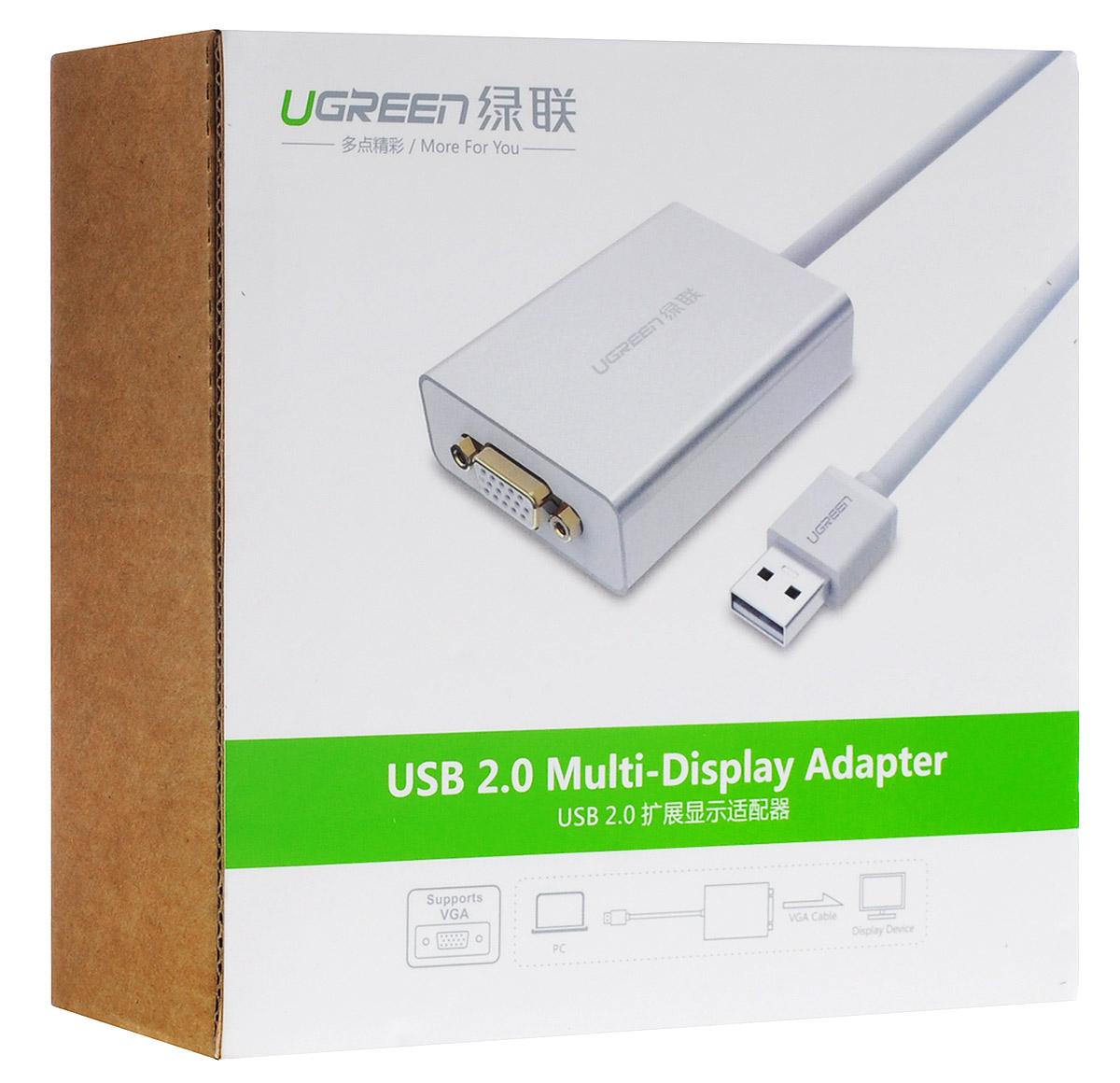 Ugreen UG-40244, White Silver конвертер-переходник USB/VGAUG-40244Адаптер Ugreen UG-40244 предназначен быстро и легко добавить дополнительный дисплей к вашему компьютеру через USB порт (USB 2.0 или более поздней версии) разрешением до 1920x1080. Это идеальное решение, позволяющее вам работать на двух экранах, когда это необходимо. Поддержка ОС: Windows ХР (только 32-бит)/Vista/ 7/ 8/ 8.1, Mac ОС 10.10, Linux Ubuntu 14.04.02