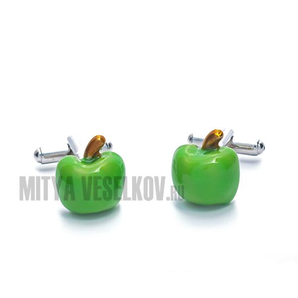 Запонки мужские Mitya Veselkov Зеленое яблоко. ZAP-124ZAP-124