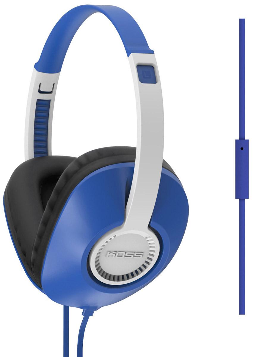 Koss UR23i, Blue наушники2129918963Koss UR23i - полноразмерные наушники с функцией гарнитуры, выполненные в корпусе современного дизайна. Чаши D-образной формы с мягкими амбушюрами обеспечивают непередаваемый комфорт при длительном ношении. Наушники отличаются легким весом и высокой прочностью, а плоская форма кабеля исключает его заламывание и спутывание.