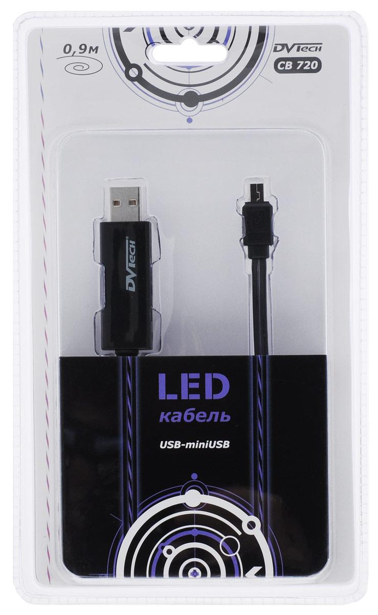 DVTech CB720, Black кабель miniUSB-USB с LED подсветкой 0, 9 м
