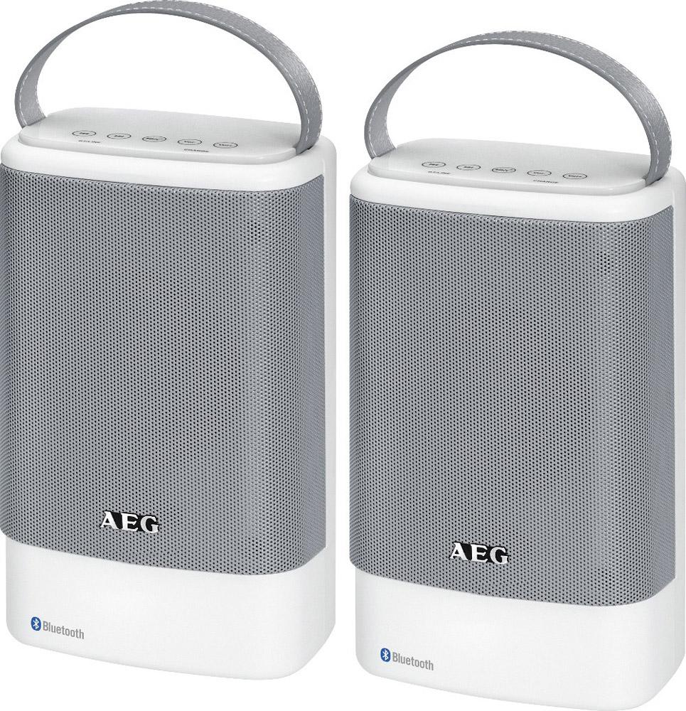 AEG BSS 4833, White Grey беспроводная акустическая системаBSS 4833Беспроводная акустическая система AEG BSS 4833 рассчитана на воспроизведение до 8 часов музыки посредством Bluetooth или входа Aux. Данная модель идеально подходит для беспроводного соединения через Bluetooth со смартфоном, планшетом, или другим устройством. Колонки имеют корпус с защитой от брызг (IPX4), благодаря чему их можно использовать как в домашних условиях, так и на отдыхе на природе. Для заряда батареи акустической системы используется порт microUSB. Имеется LED-индикация соединения Bluetooth и уровня заряда.