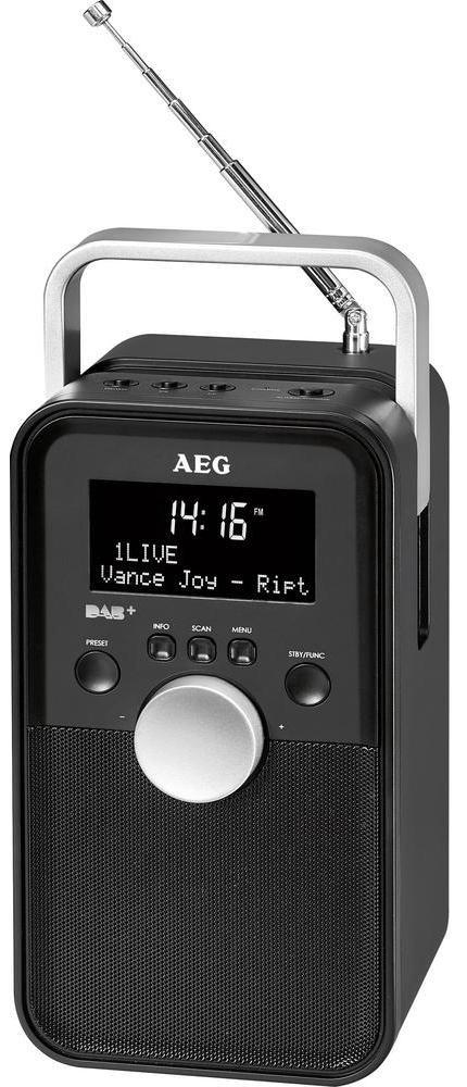 AEG DR 4149 DAB+ радиоприемникDR 4149 DAB+Общие характеристики: Переносное DAB+/VHF радио, оснащенное черно-белым 3 строчным LCD-дисплеем, DAB+ модулями для приема цифровых радиостанций с возможностью ручного и автоматического сканирования, PLL RDS радио (VHF), AUX-IN*, часами, регулировкой уровня звука, также имеет функцию, режим сна, переключатель ВКЛ/ВЫКЛ. Телескопическая антенна, встроенные колонки, встроенный аккумулятор (может работать как от него так и от сети), удобную ручку для переноски. DAB+ радио: Большой выбор цифровых радиостанций, удобство работы, память на 20 станций, 3-строчный LCD-дисплей с индикацией названия станции, качества приема сигнала, типа программы, частоты, информационных сообщений, времени и даты. PLL-RDS-FM радио: 20 предустановленных станций в FM-диапазоне, LCD-индикация выбранной частоты Соединения: AUX-IN* (кабель в комплекте) Питание: 100-240 В, 50/60 Гц (сетевой адаптер в комплекте), батарея: 1050 мАч, 3,7 В