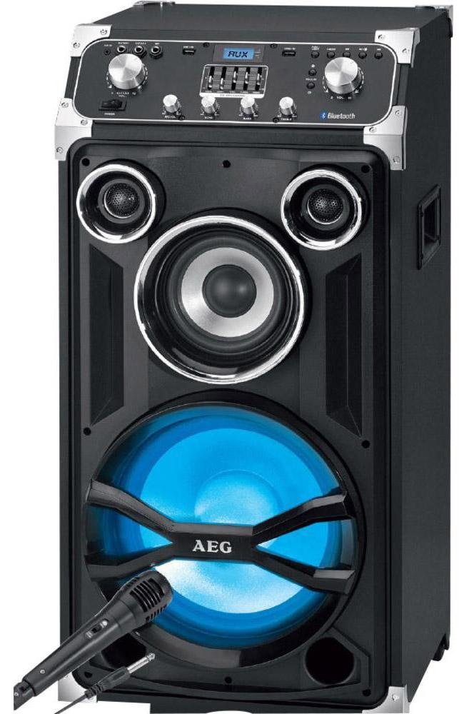 AEG EC 4834 аудиосистема BluetoothEC 4834Переносной развлекательный центр, оснащен LCD-дисплеем с синей подсветкой, переключателем ВКЛ/ВЫКЛ, также имеет функцию караоке (в комплекте микрофон). Максимальная мощность (RMS) — 250 Вт Центр оснащен 2 USB-портами, входом AUX-IN*, системой раздельной р