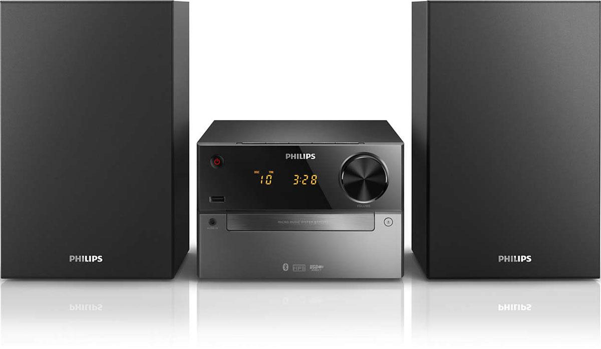 Philips BTM2310/12 микросистемаBTM2310/12Слушайте мелодии со смартфона, передавайте свою музыкальную коллекцию через Bluetooth и воспроизводите MP3-CD с помощью компактной универсальной музыкальной системы Philips BTM2310/12. Встроенный USB-порт позволяет заряжать любые мобильные устройства: от смартфонов до планшетов. Беспроводная передача звука через Bluetooth: Bluetooth — надежная и энергоэффективная технология беспроводной связи малого радиуса действия, которая позволяет с легкостью подключать iPod/iPhone/iPad и другие Bluetooth-устройства, например, смартфоны, планшетные компьютеры и ноутбуки. Теперь вы сможете без проводов воспроизводить на этой акустической системе любимую музыку и звук во время игр или просмотра видео. Воспроизведение MP3-CD, CD и CD-R/RW: Термин MP3 означает MPEG 1 Audio layer-7,6 см (3). Формат MP3 — это революционная технология сжатия, благодаря которой большие музыкальные файлы цифровой записи сжимаются в размерах до 10 раз без кардинального...