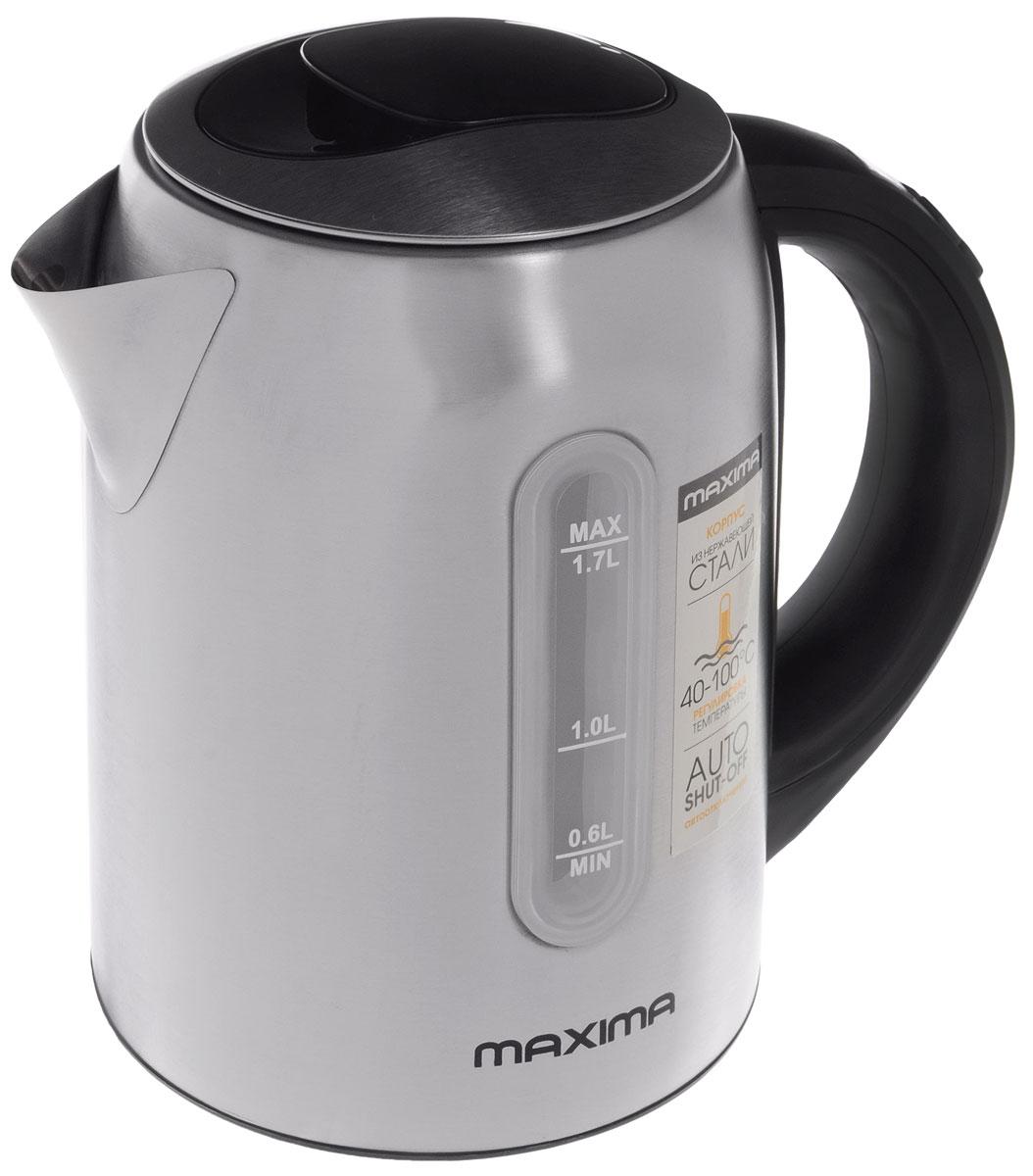 Maxima MK-M471 электрический чайникMK-M471Стильный чайник Maxima MK-M471 с дисковым нагревательным элементом позволит быстро вскипятить нужное количество воды. Корпус изготовлен из высококачественной стали, что обеспечивает прочность пробору и длительное сохранение высокой температуры воды. Ручка чайника изготовлена из термостойкого пластика. Особенностью данной модели является наличие терморегулятора, позволяющего поддерживать температуру в диапазоне от 40 до 100 градусов.