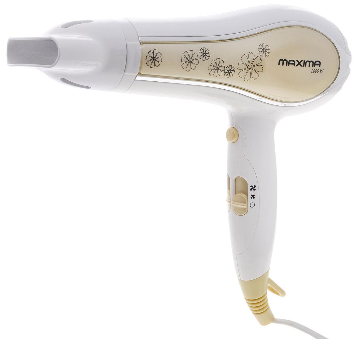 Maxima MF-165, White фенMF-165_WhiteФен Maxima MF-165 поможет сделать красивую укладку. Петля на рукоятке позволяет удобно хранить прибор. Насадка-концентратор создает мощный поток воздуха, который быстро сушит волосы. Фен оснащен защитой от перегрева.