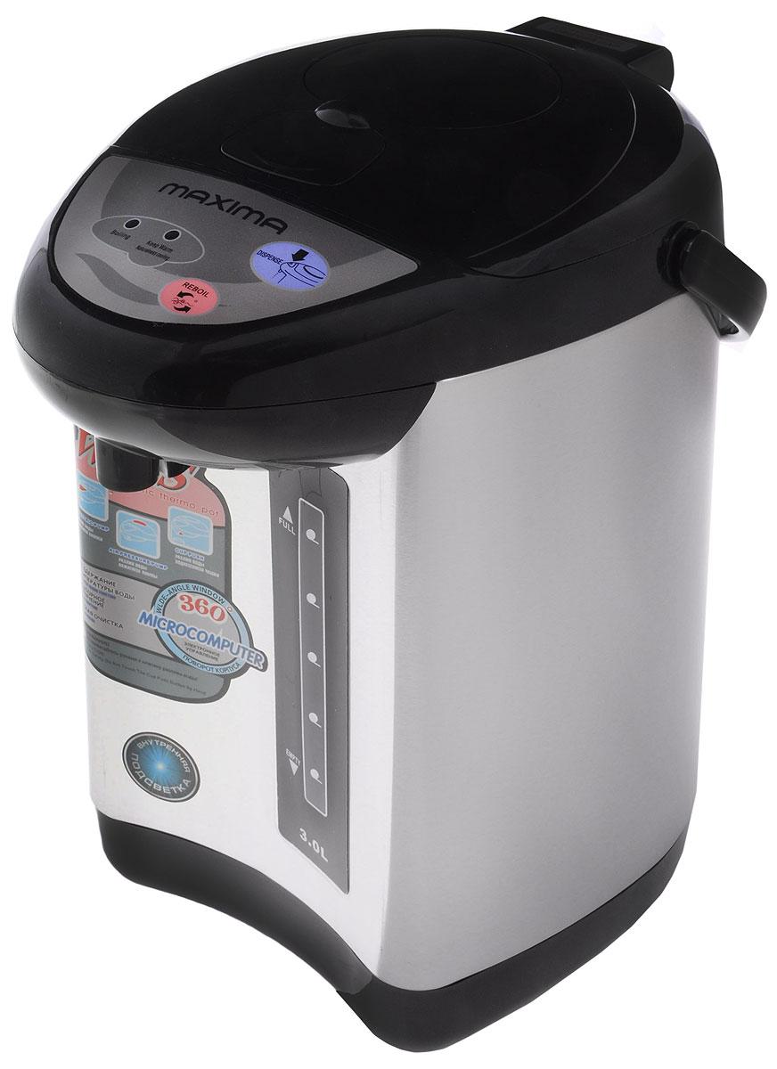 Maxima MTP-M803, Black термопотMTP-M803_BlackТермопот Maxima MTP-M803 с легкостью кипятит воду, как чайник, и сохраняет ее горячей долгое время, как термос. Он выполнен из высококачественных материалов с высокими термоизоляционными свойствами. Для вашего комфорта в термопоте Maxima MTP-M803 предусмотрены 3 способа подачи воды: нажатием кнопки на панели управления, нажатием кнопки у носика налива воды и с помощью механической помпы.