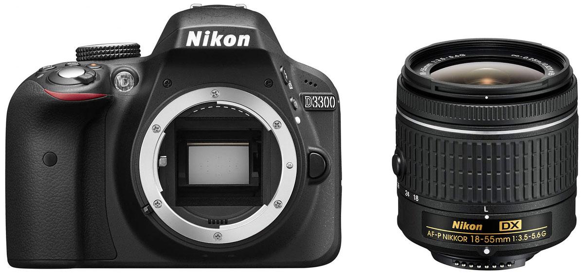 Nikon D3300 Kit 18-55 AF-P DX, Black цифровая зеркальная фотокамераVBA390K010Мощная и простая в использовании цифровая зеркальная фотокамера Nikon D3300 с разрешением 24,2 мегапикселя имеет компактный корпус и небольшой вес. Ее удобно носить с собой, чтобы в нужный момент создавать незабываемые фотографии и видеоролики высокой четкости. Фотокамера D3300 оснащена матрицей с разрешением 24,2 млн пикселей, в конструкции которой не используется оптический низкочастотный фильтр (OLPF). Вы получите резкие и невероятно детализированные изображения даже при съемке текстур с мельчайшими деталями. Большая матрица способна запечатлеть мельчайшие детали с великолепной резкостью и демонстрирует превосходные результаты при слабом освещении. Диапазон значений от 100 до 12 800 единиц ISO (с возможностью расширения до эквивалента 25 600 единиц) позволяет передать все детали при съемке в темноте. В фотокамере Nikon D3300 на выбор предлагаются 13 эффектов, которые позволяют с легкостью создавать художественные фотографии и...