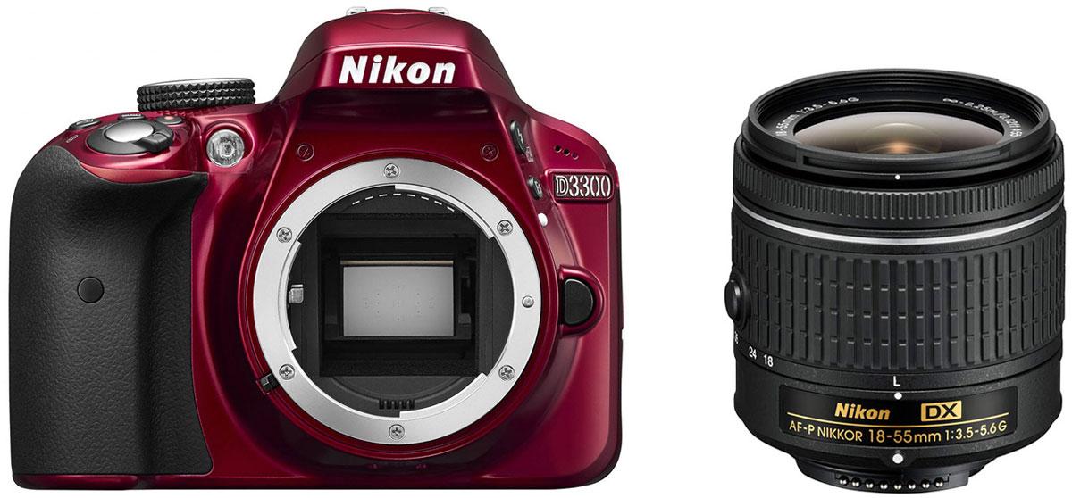 Nikon D3300 Kit 18-55 AF-P DX, Red цифровая зеркальная фотокамера ( VBA391K002 )