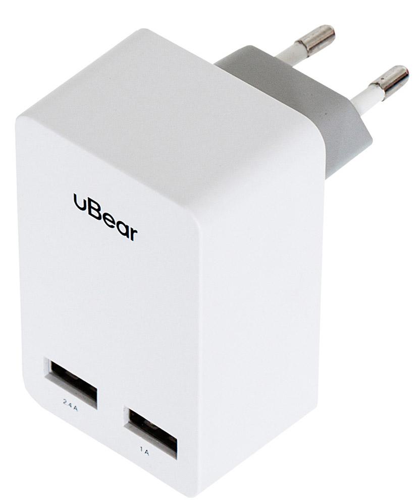 uBear 2 USB Wall Charger 3.4 А, White cетевое зарядное устройствоWC02WH01-ADЗарядное устройство uBear 2 USB Wall Charger 3.4 А предназначено для заряда батареи мобильных телефонов, смартфонов и других цифровых устройств через USB от сети 100-240В. Он подходит для розетки европейского стандарта, тем самым устройство можно подключить к большинству розеток. Выходные параметры адаптера достаточны для питания различных типов портативной электроники. USB1 - 2,4А USB2 - 1А