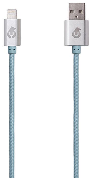uBear MFI Lightning-USB, Light Blue кабель Apple LightningDC04LB01-I5Кабель uBear MFI Lightning-USB предназначен для передачи данных между мобильными устройствами Apple, имеющими разъём Lightning, и для их подзарядки. Модель изготовлена по лицензии Apple MFI для использования с такими мобильными устройствами, как iPhone, iPod Touch и iPad. При изготовлении кабеля применены новейшие технологии и большое внимание к деталям. Оплётка выполнена из инновационной износостойкой ткани с плотным плетением нейлоновых нитей, благодаря которому продолжительность использования кабеля возрастает в 5 раз. Наличие специальной пропитки оплетки увеличивает прочность провода и защищает его от перекручивания. Коннекторы выполнены из алюминия премиального качества и отличаются высокой скоростью передачи данных.