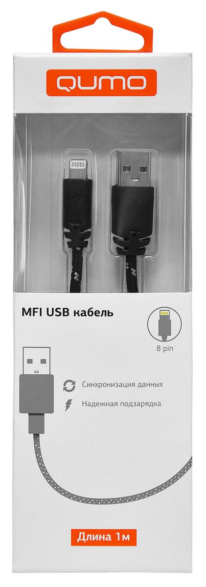 QUMO кабель USB-Apple 8pin в оплетке, Black (1 м)