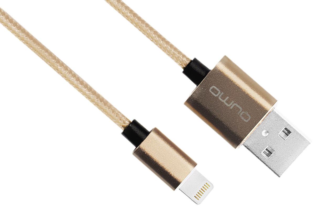 QUMO MFI кабель USB-Apple 8pin в оплетке, Gold (1 м)