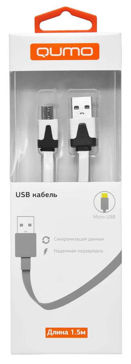 QUMO кабель microUSB-USB плоский, White (1,5 м)