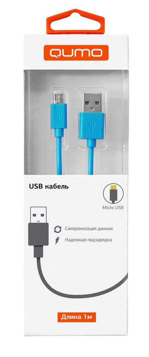 QUMO кабель microUSB-USB круглый, Blue (1 м)