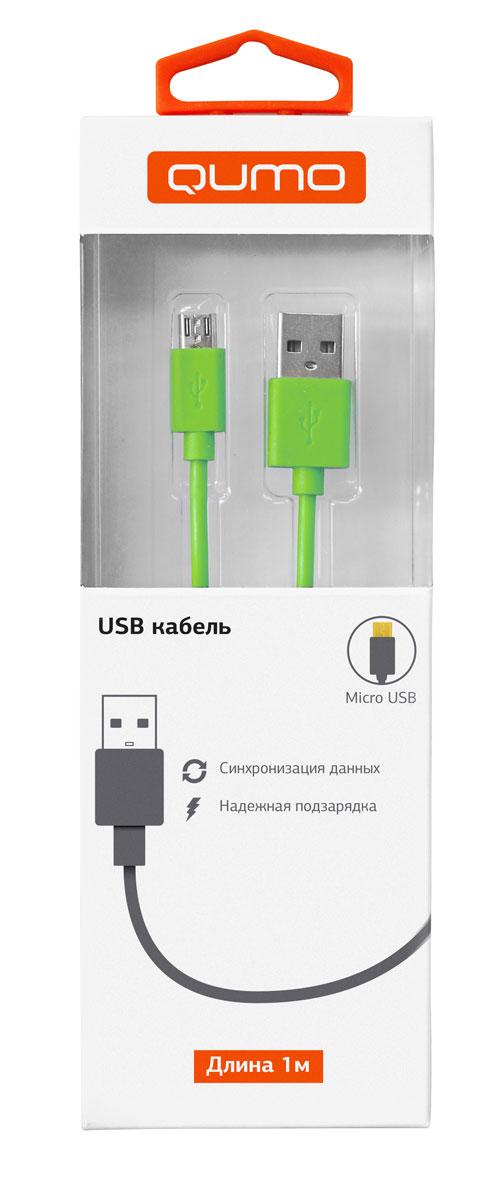 QUMO кабель microUSB-USB круглый, Green (1 м)