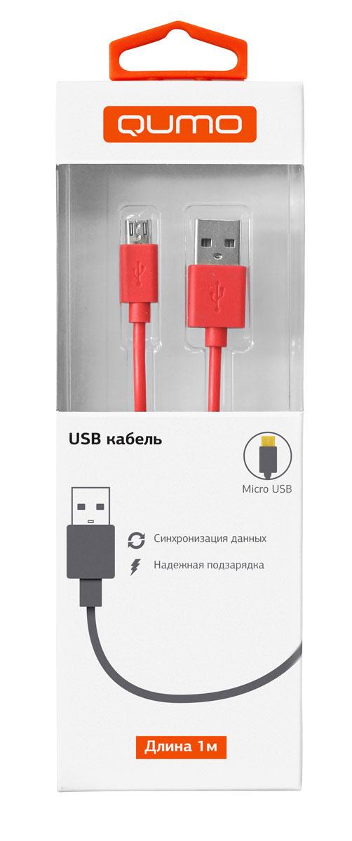 QUMO кабель microUSB-USB круглый, Red (1 м)