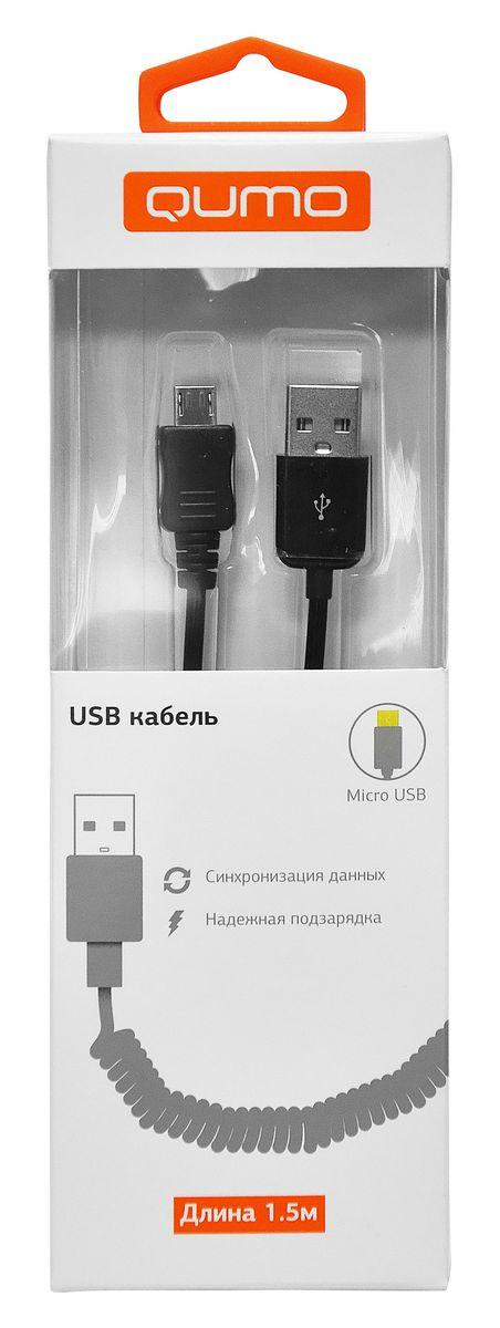 QUMO кабель microUSB-USB витой, Black (1,5 м)