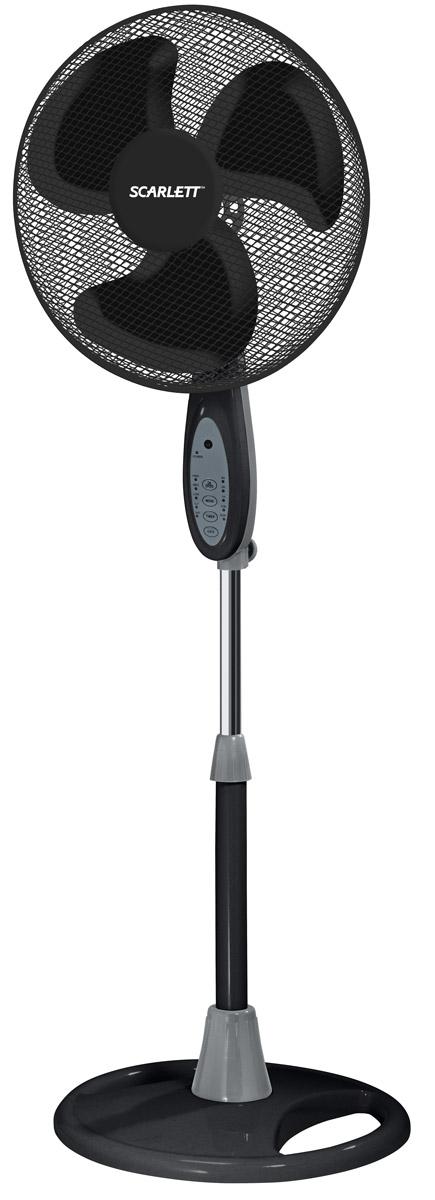 Scarlett SC-373, Black вентилятор напольныйSC-373Напольный вентилятор Scarlett SC-373 с регулировкой высоты и наклона имеет мощность 45 Вт и шесть режимов работы. Диаметр лопастей составляет 40 см. Вентилятор может автоматически вращаться на 90 градусов, а также оснащен защитной решёткой для безопасного использования и защитой от перегрева. Оснащен таймером до 7,5 часов. Максимальная высота: 1,3 м