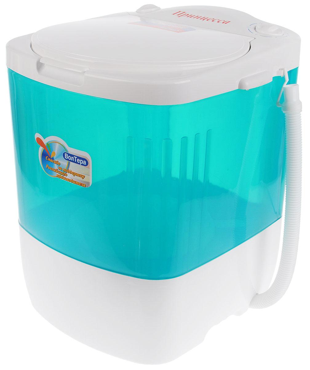ВолТек Принцесса СМ-1, Turquoise стиральная машинаСМ-1С ПринцессаЛегкая мини-стиральная машина с вертикальной загрузкой ВолТек Принцесса СМ-1 облегчает ручную стирку дома и в путешествиях. Подходит для стирки мелкого белья, а также изделий из деликатных тканей. Стирает быстро и эффективно со стойким результатом. Минимальный расход воды, энергии и моющих средств. Потребляемая мощность: 140 Вт Объем бака: 17 литров Режим работы: реверсивный, повторно-кратковременный до 15 минут