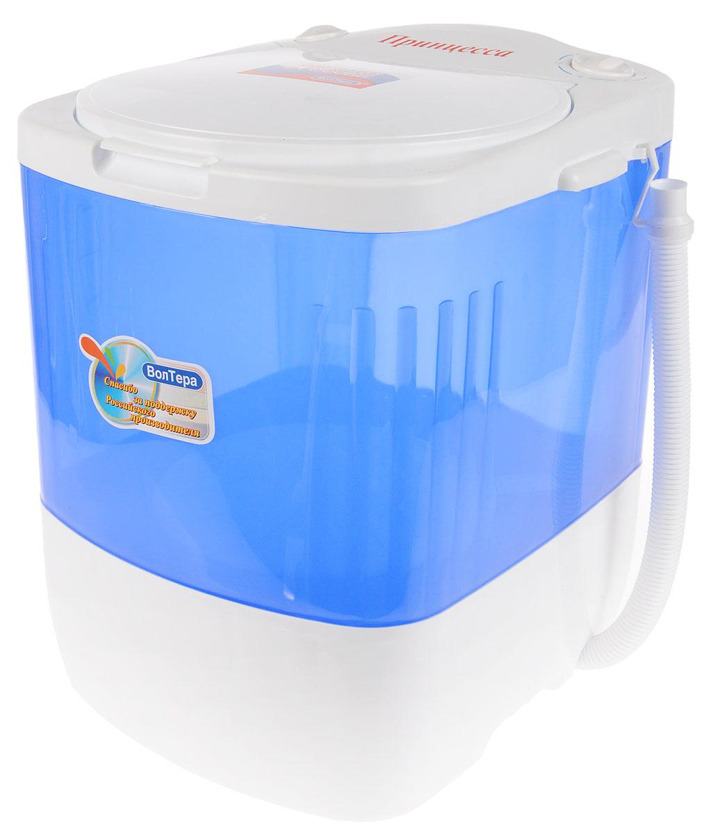 ВолТек Принцесса СМ-1, Blue стиральная машинаВТ-СМ1RUПринцессаЛегкая мини-стиральная машина с вертикальной загрузкой ВолТек Принцесса СМ-1 облегчает ручную стирку дома и в путешествиях. Подходит для стирки мелкого белья, а также изделий из деликатных тканей. Стирает быстро и эффективно со стойким результатом. Минимальный расход воды, энергии и моющих средств. Потребляемая мощность: 140 Вт Объем бака: 17 литров Режим работы: реверсивный, повторно-кратковременный до 15 минут