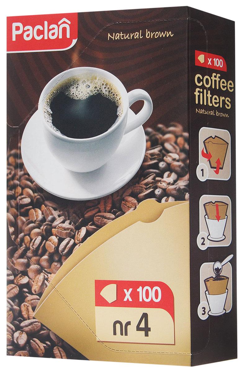 Набор фильтров для кофе Paclan, небеленые, размер 4, 100 шт135012/135011/135010/304004Фильтры Paclan размера 4 изготовлены из неотбеленной бумаги (100% целлюлоза) и без использования клея. Они предназначены для приготовления кофе в стандартных моделях кофеварок капельного типа большого размера (на 8-12 чашек). Микропористая структура фильтра сохраняет приятный аромат свежемолотого кофе. Фильтры предназначены для одноразового применения.