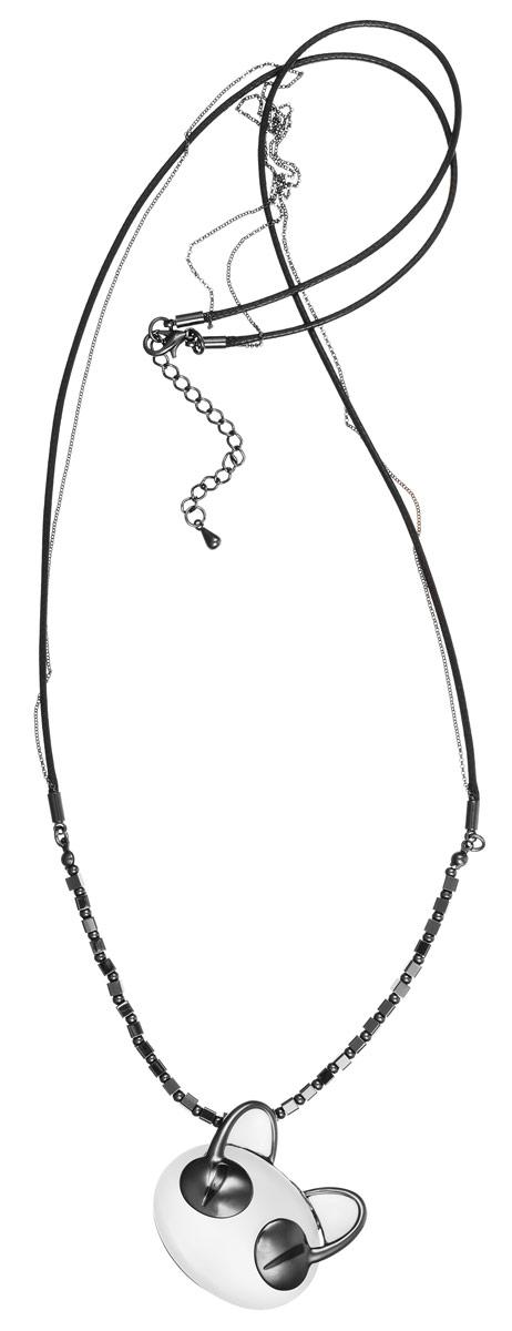 Колье Art-Silver, цвет: антрацитовый, белый. 009237-1022009237-1022Стильное колье Art-Silver представляет собой текстильный шнурок с тонкой цепочкой, дополненный бусинами из стали. Колье украшает массивная подвеска в виде мордашки кота, покрытая эмалью и дополненная вставкой из натурального камня кошачий глаз. Изделие застегивается на замок-карабин с регулирующей длину цепочкой. Стильное колье станет оригинальным аксессуаром, как для повседневного, так и для вечернего наряда, оно подчеркнет вашу индивидуальность и неповторимый стиль.