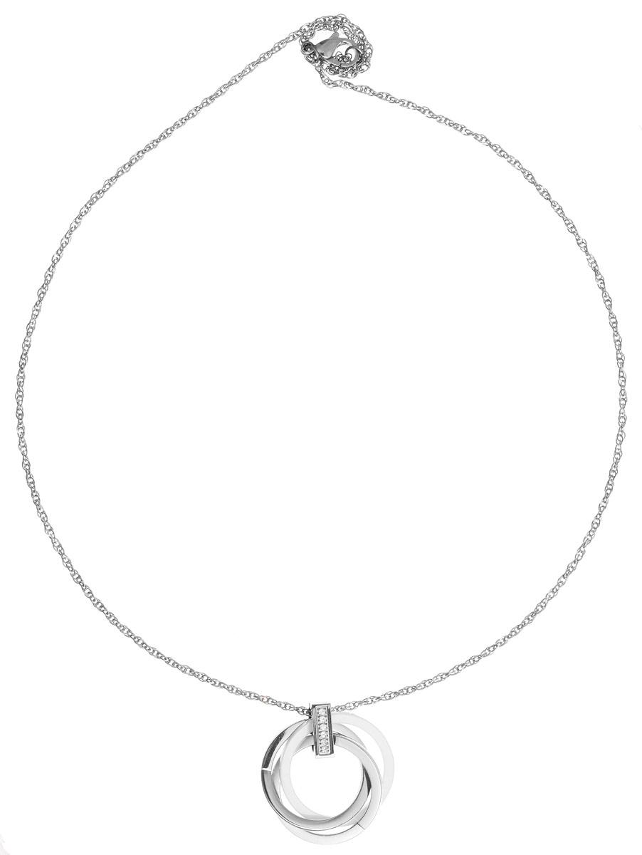 Колье Art-Silver, цвет: серебристый, белый. КБ0951-762КБ0951-762Стильное колье Art-Silver выполнено из бижутерного сплава. Колье представляет собой цепочку, которая дополнена подвеской в виде сплетенных между собой колец. Кольца выполнены из стали и керамики. Подвеска украшена цирконами. Изделие застегивается на замок-карабин с регулирующей длину цепочкой. Стильное колье станет оригинальным аксессуаром, как для повседневного, так и для вечернего наряда, оно подчеркнет вашу индивидуальность и неповторимый стиль.