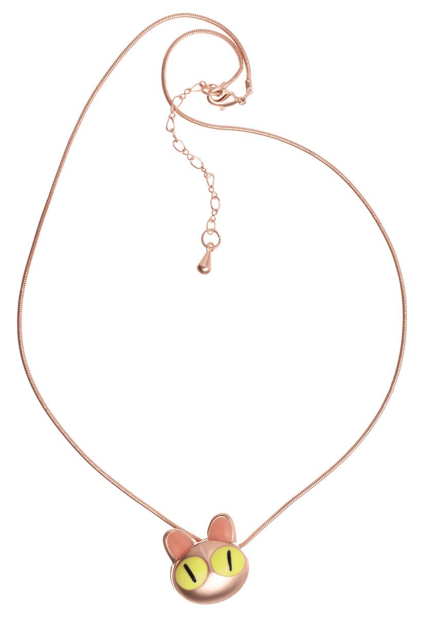 Колье Art-Silver, цвет: золотистый. 004673-002-720004673-002-720Стильное колье Art-Silver выполнено из бижутерного сплава с золотистым покрытием. Колье представляет собой цепочку оригинального плетения, которая дополнена подвеской в виде мордашки кота. Подвеска дополнена вставками из эмали. Изделие застегивается на замок-карабин с регулирующей длину цепочкой. Стильное колье станет оригинальным аксессуаром, как для повседневного, так и для вечернего наряда, оно подчеркнет вашу индивидуальность и неповторимый стиль.