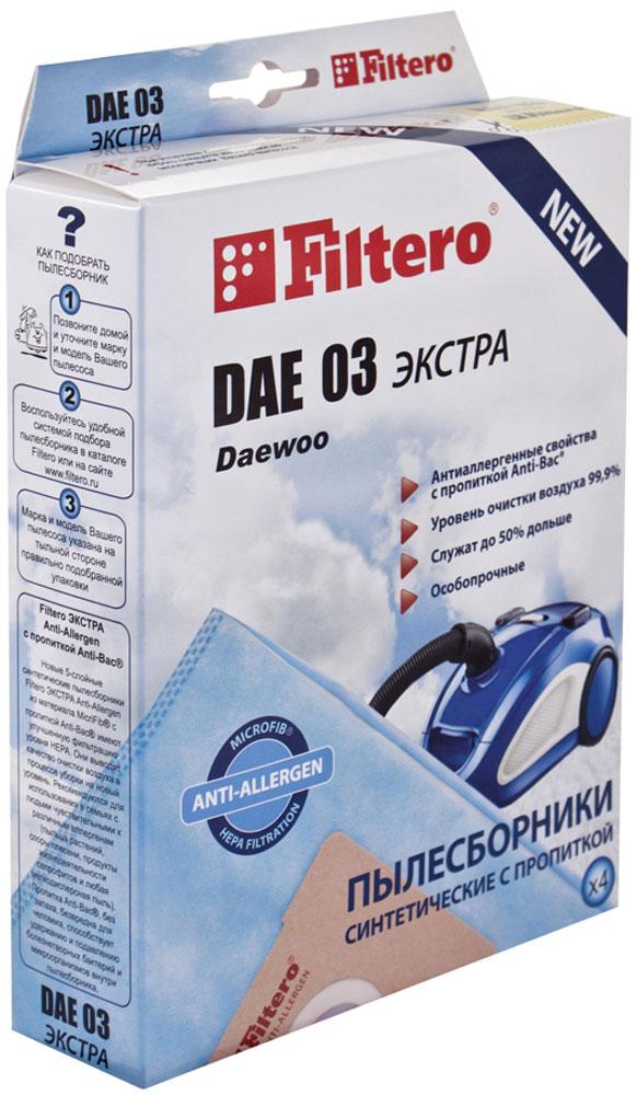 Filtero DAE 03 Экстра мешок-пылесборник 4 штDAE 03 ЭкстраМешки - пылесборники Filtero DAE 03 произведены из пятислойного синтетического микроволокна MicroFib. Они очень прочные, не боятся острых предметов и влаги, собирают до 50% больше пыли, чем бумажные. Обеспечивают уровень очистки воздуха НЕРА. Сохраняют мощность всасывания в течение всего периода службы пылесборника. Антибактериальная пропитка Anti-Bac защищает от аллергенов и угнетает размножение бактерий в мешке. Filtero DAE 03 рекомендуются для семей с детьми, людей, страдающих аллергией и заболеваниями дыхательных путей.