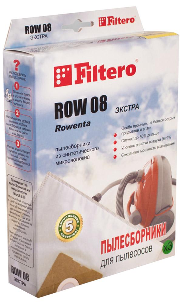 Filtero ROW 08 Экстра мешок-пылесборник 3 штROW 08 ЭкстраМешки - пылесборники Filtero ROW 08 Экстра произведены из пятислойного синтетического микроволокна MicroFib. Они очень прочные, не боятся острых предметов и влаги, собирают до 50% больше пыли, чем бумажные. Обеспечивают уровень очистки воздуха НЕРА и сохраняют мощность всасывания в течение всего периода службы пылесборника. Антибактериальная пропитка Anti-Bac защищает от аллергенов и угнетает размножение бактерий в мешке. Рекомендуются для семей с детьми, людей, страдающих аллергией и заболеваниями дыхательных путей.