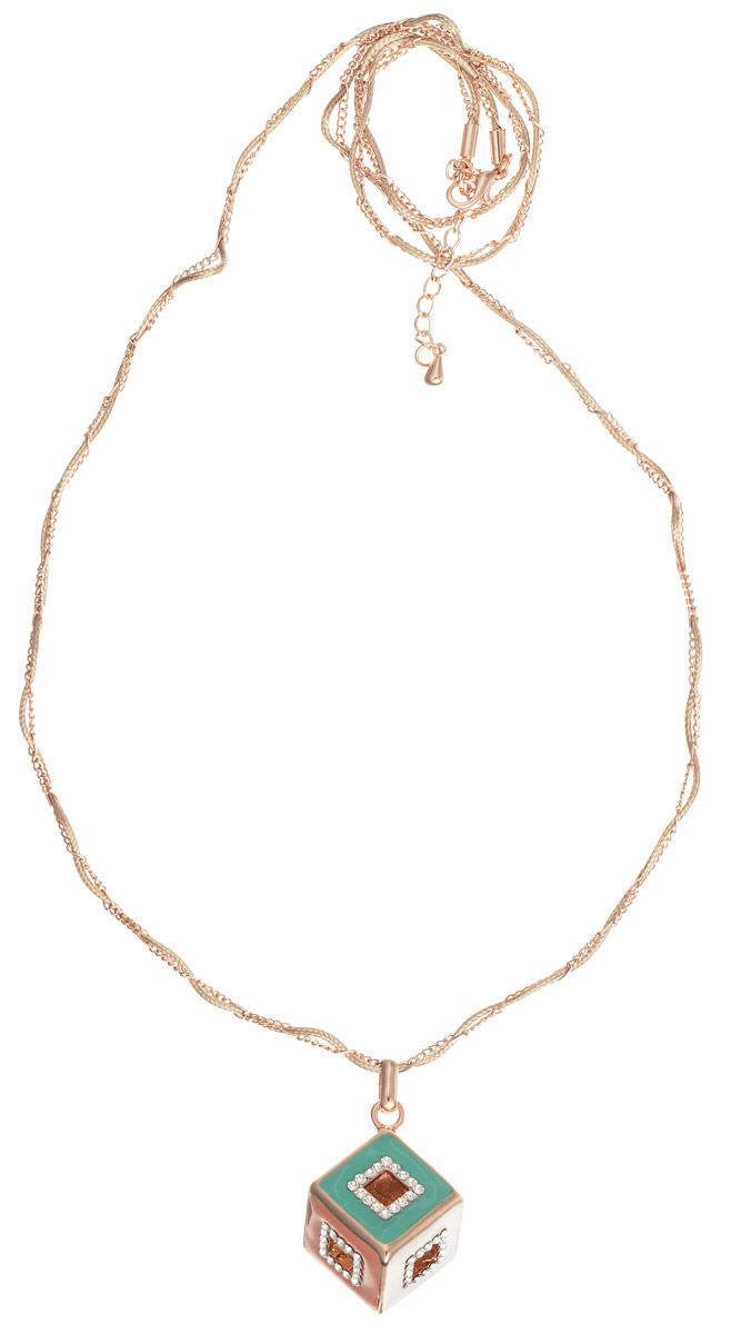 Колье Art-Silver, цвет: золотой, белый, зеленый, персиковый. 009348-003-1370009348-003-1370Оригинальное колье Art-Silver изготовлено из бижутерийного сплава и текстиля. Центральная часть колье дополнена оригинальным декоративными элементом, который инкрустирован цирконами и оформлен цветной эмалью. Колье застегивается на замок-карабин, длина изделия регулируется за счет дополнительных звеньев. В комплекте с украшением поставляется мешочек для хранения с фирменной символикой. Колье Art-Silver поможет дополнить любой образ и привнести в него завершающий штрих.
