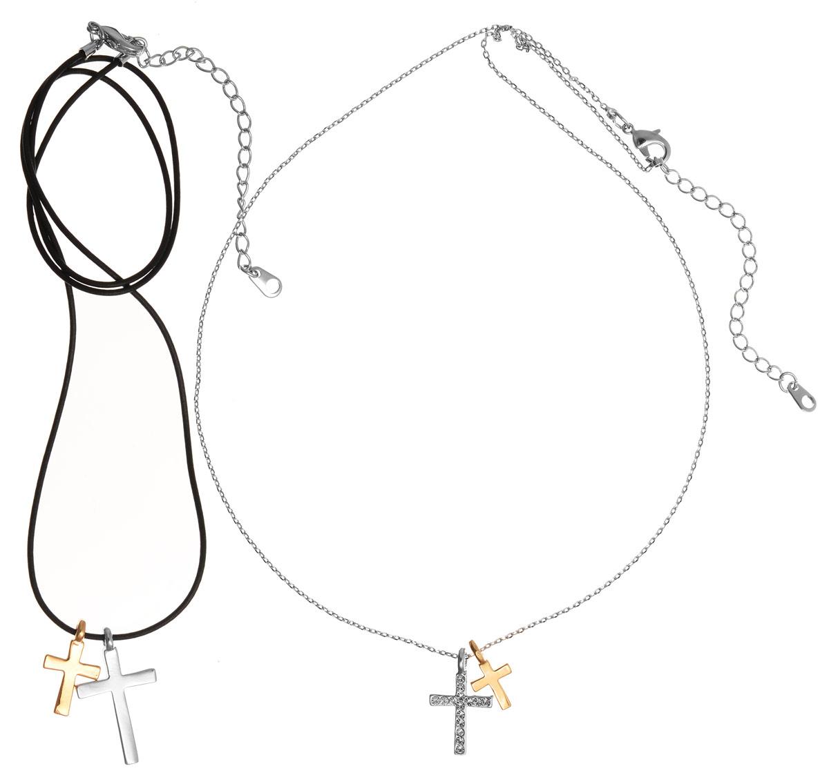 Кулон Art-Silver, цвет: серебряный, черный, золотой, 2 шт. 10785-53910785-539Очаровательный комплект Art-Silver включает в себя два украшения, каждое из которых дополнено двумя кулонами разного размера. Благодаря стильному дизайну изделия идеально сочетаются. Первое украшение выполнено в виде изящной цепочки, дополненной двумя кулонами в форме крестов. Один из кулонов инкрустирован цирконами. Цепочка застегивается на замок-карабин, длина регулируется. Второе украшение представляет собой текстильный шнур, который также дополнен двумя кулонами и застегивается на замок-карабин. Длина изделия регулируется за счет дополнительных звеньев. Кулон Art-Silver поможет дополнить любой образ и привнести в него завершающий штрих.