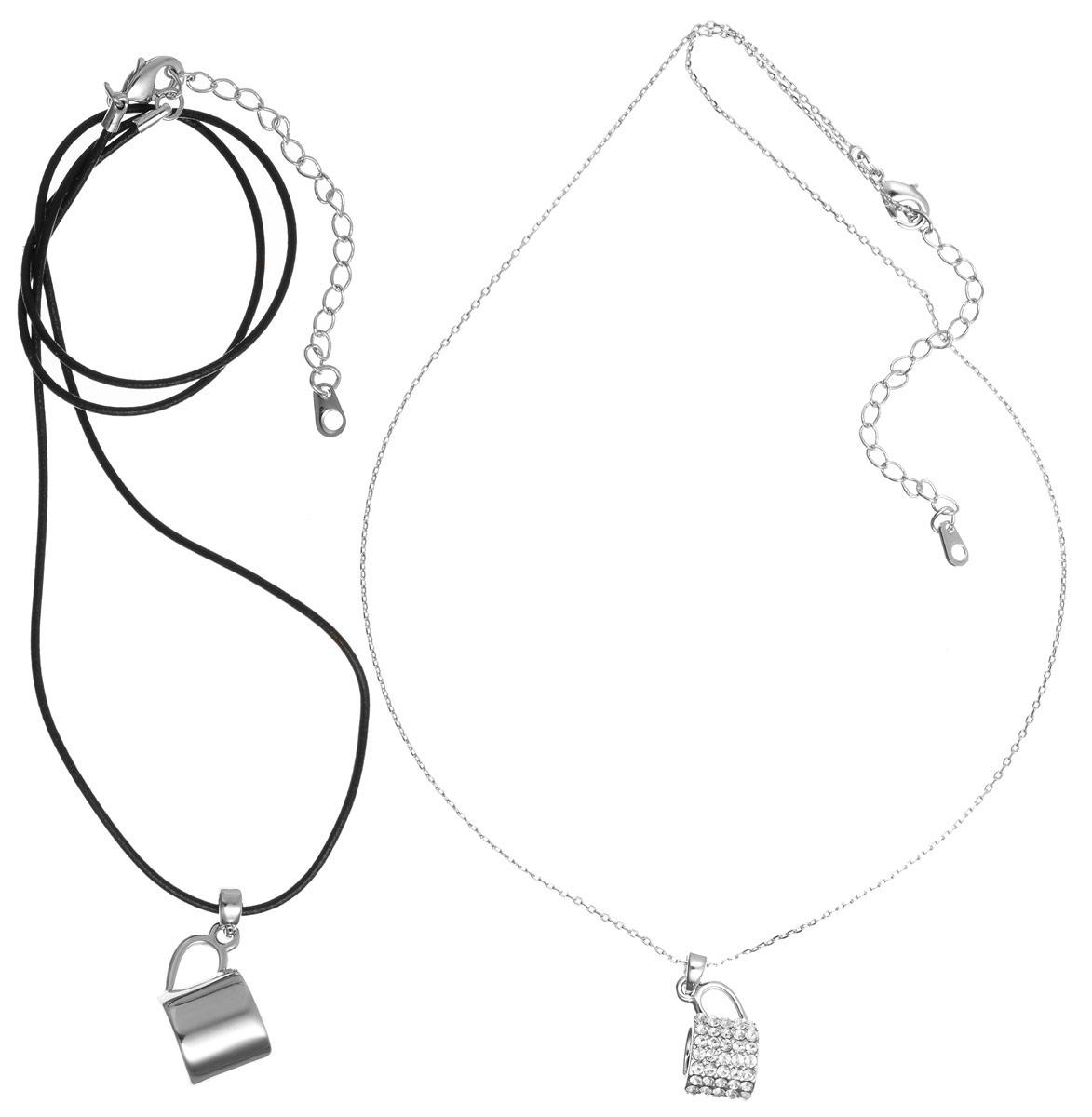 Кулон Art-Silver, цвет: серебряный, черный, 2 шт. 134341-1-962134341-1-962Очаровательный комплект Art-Silver включает в себя два кулона, благодаря стильному дизайну изделия идеально сочетаются. Украшения изготовлены из бижутерийного сплава. Первый кулон выполнен в виде кружки, инкрустирован стразами и дополнен изящной цепочкой. Украшение застегивается на замок-карабин, длина изделия регулируется за счет дополнительных звеньев. Второй кулон также имеет форму кружки, дополнен шнуром из искусственной кожи. Украшение застегивается на замок-карабин, длина изделия регулируется за счет дополнительных звеньев. Кулон Art-Silver поможет дополнить любой образ и привнести в него завершающий штрих.