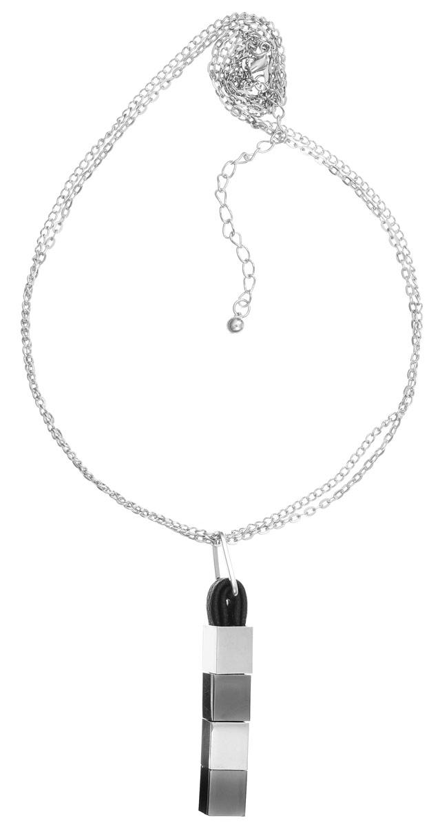 Колье Art-Silver, цвет: серебряный, черный, серый. 51181-1-56751181-1-567Колье современного дизайна Art-Silver изготовлено из бижутерийного сплава и искусственной кожи. Центральная часть колье дополнена подвеской продолговатой формы. Колье застегивается на замок-карабин, длина изделия регулируется за счет дополнительных звеньев. В комплекте с украшением поставляется мешочек для хранения с фирменной символикой. Колье Art-Silver поможет дополнить любой образ и привнести в него завершающий штрих.